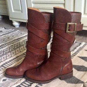 Floral Tooled Frye Veronica Strappy Moto 7.5